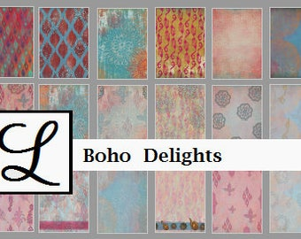 SALE 50% OFF - Boho Delights, gorgeous digi (digital) papers for scrapbooking and card making  - instant download in PDF format.