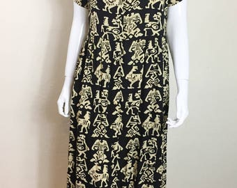 90s Vintage Women's Dress - SZ ML - BATIK Indonesian Black Tan Midi Button Up