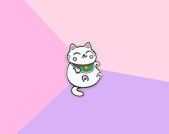 Lucky Cat - Gold Hard Enamel Lapel Pin Kawaii Kitty