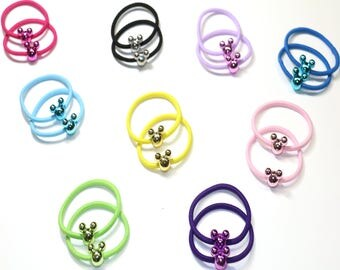 18 Pieces Cute Mickey Ponytail Holder, Pastel Color Rubber band, Girls and Women Hair Elastic Tie