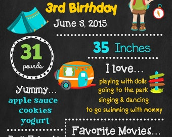 Camping Birthday Chalkboard Poster - Wall Art design - Birthday Poster Sign - Any Age