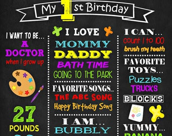 Art Birthday Chalkboard Poster - Craft Painting Wall Art design - Birthday Party Poster Sign - Any Age