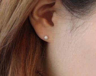 4mm Sterling Silver Earrings, Silver Studs, Minimalist Earrings, Cubic Zirconia Earrings, Dainty CZ Studs, Silver Ball Earrings, Simple Stud
