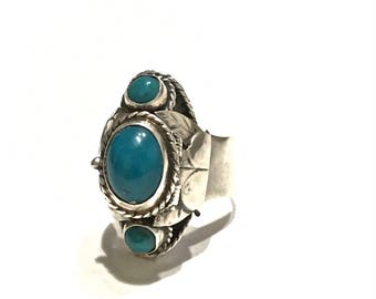Vintage POISON RING Taxco Sterling Silver and Turquoise Size 6.5 ADJUSTABLE Poison Ring Mid Century Southwestern Style Or Boho Style Ring