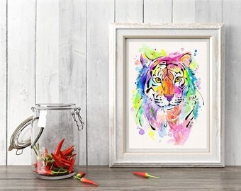 Watercolor Tiger Art Print, Tiger Decor, Brightly colored wall art, Rainbow tiger, Abstract Tiger, Tiger gift ideas, Colorful Tiger