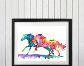 Watercolor Horse, Horse Art Print, Horse Decor, Horse wall art, Horse lover gift, Horse silhouette, Pony art