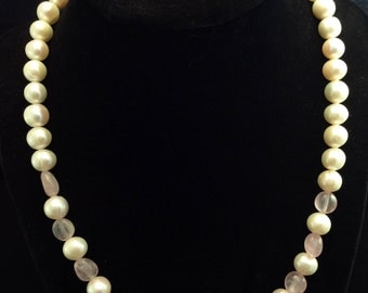 Sterling silver Cultured Freshwater Pearl and Pink Rose Quartz Necklace, Ladies Pink Quartz And Pearl Necklace