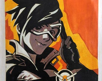 Overwatch portraits on linen panel