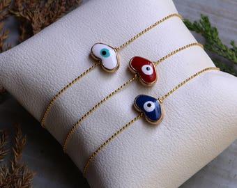 Heart Shape Evil Eye Bracelet,Minimal Bracelet, Tiny Bracelet, Gold Plated Bracelet, Wholesale Bracelet, Women Bracelet, Protection Bracelet