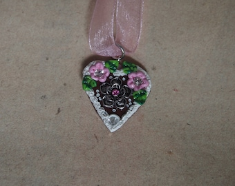 Oktoberfest heart necklace pink with Flower