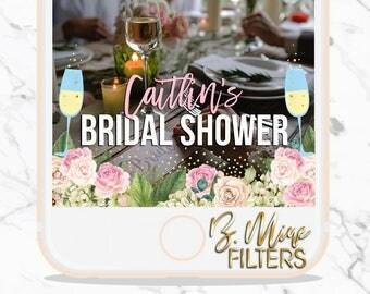 BRIDAL SHOWER SNAPCHAT Geofilter, Bridal Shower Filter, Champagne Snapchat, Floral Snapchat, Custom Snapchat, Personalize Snapchat, Blush