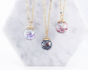 Snow globe necklace; snow globe; glass necklace; snow globe accessories; galaxy necklace;