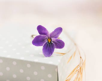 Purple violet pansy ring flower floral jewelry Purple ring Purple jewelry Pansy ring Violet ring Flower ring Floral ring floral jewelry