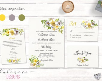 Yellow Gray Floral Wedding Invitation Set Romantic Printable Wedding Invite Suite Digital Boho Grey Spring Summer Flowers Wedding - WS020