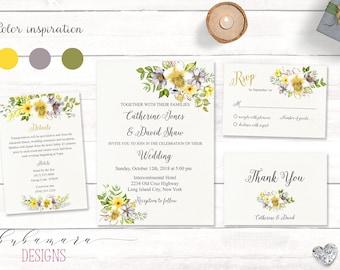 Yellow Gray Floral Wedding Invitation Set Romantic Printable Wedding Invite Suite Digital Boho Grey Spring Summer Flowers Wedding - WS020