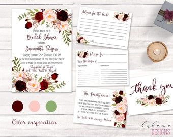 Burgundy Bridal Shower Invitation Suite Marsala Bohemian Autumn Bridal Shower Invite Set Printable Pink Digital Red Fall Invitation - BS019