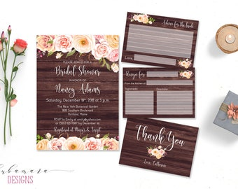 Rustic Floral Bridal Shower Invitation Peach Pink Wood Romantic Bridal Shower Invite Country Printable Boho Flowers Bridal Card - BS010