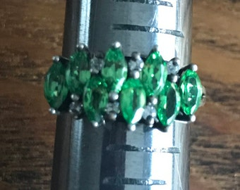 Emerald Diamond Sterling Silver Vintage Aniversary Statement Ring
