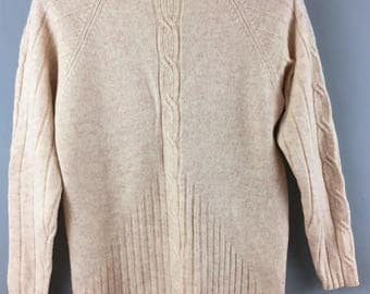 Vintage M&S beige oatmeal pure lambswool cable jumper UK 14 turtle neck