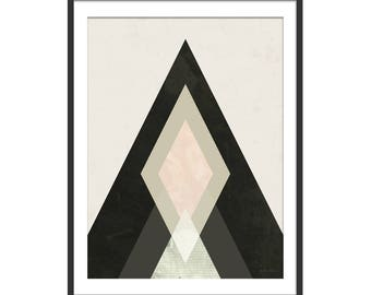 Abstract Art. Abstract Art Print. Mountain Print. Mountain Abstract Art. Scandinavian Inspired Minimal Picture