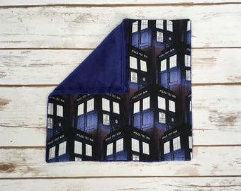 """Doctor Who Lovey Blanket! 10"""" Gender Neutral Tardis Baby Blanket. Ready to Ship!"""
