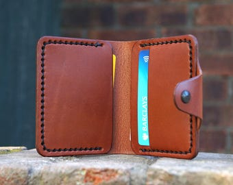 Handmade Leather Bifold Wallet Card Holder