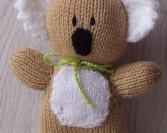 Hand Knitted Koala, Hand knitted Toy , Stuffed Toy, Koala toy with bow, hand made koala toy, baby gift