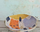 READY TO SHIP Ceramic Pottery Bowl Dish Stoneware  Blue Orange Yellow Abstract Shapes Rustic Texture Australia