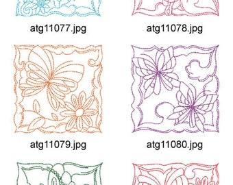 Redwork-Butterfly-Blocks ( 10 Machine Embroidery Designs from ATW ) XYZ17E