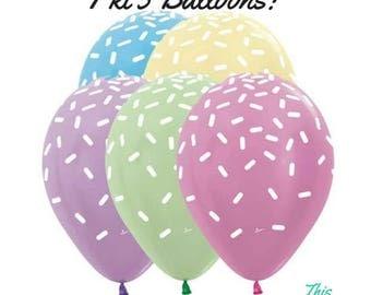 5 x Pastel Balloons Sprinkles Funfetti Donut, Ice Cream, Unicorn Party Decoration