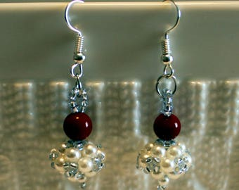 Beautiful Coral & Pearl-beaded earrings; Dangle and drop, beadweaving, handmade, cute, white, red, silver, casual-wear, party-wear