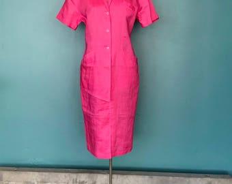 Linen Market Shirt Dress, Vintage Linen Dress, Pink Linen Shirtdress, Minimal Dress, Vintage Shirtdress, TaraLynEvans Studio