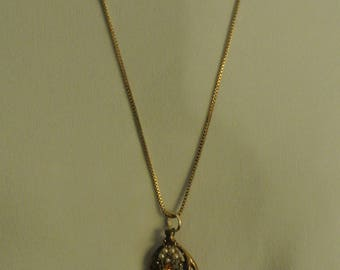Nice Necklace with Pearls, Faux Diamonds and Citrine Like Stones
