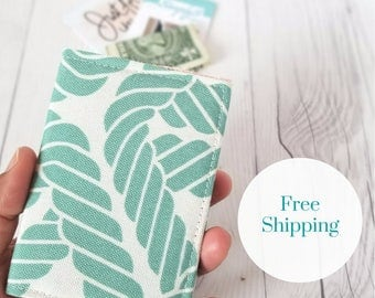 Teal Tan Wallet, Pink Green Wallet, Small Wallet, Small Women Wallet, Business Card Wallet, Credit Card Wallet, Credit Card Case, Rope Print