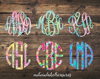 Lilly Pulitzer Monogram Decal / Custom Pattern, Size, Color  / Car, Yeti, Rtic, Ozark Tumbler, Wall Sticker, Gift Under 5, Fancy or Circle