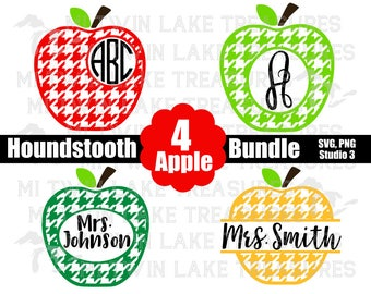 Houndstooth Apple Bundle (4) SVG, Instant & Digital Download, For Silhouette and Cricut, Teacher, Monogram, DIY, Personal and Commercial Use