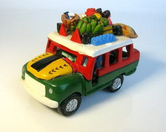 1950s / Collectible Mexican Art  Pottery / Candelario Medrano / Rare / Ceramic Bus / Car / Fruits / Vegetables / Passengers / Mexican Art