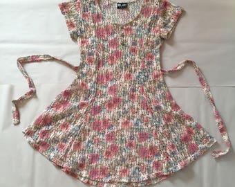 pastel net mesh mini dress | muted floral dress | bow waist tiered dress