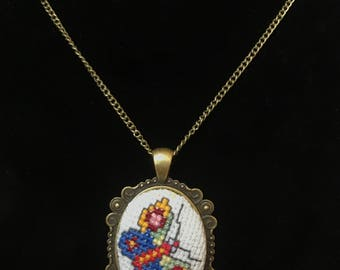 Hand-made Cross Stitch Butterfly Necklace with Oval Brass Frame and Chain