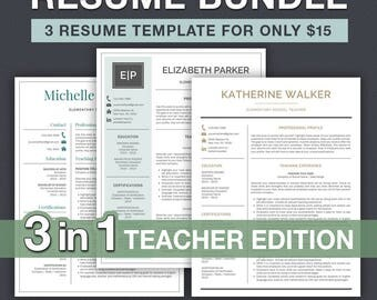 teaching resume etsy