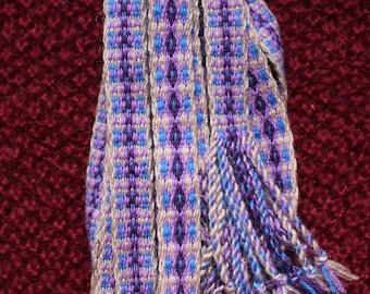 Diamond pattern tablet woven viking belt, medieval costume accessory, larp clothing detail, celtic ribbon, purple - blue - beige colors trim