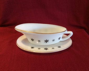 Pyrex JAJ Gaiety Black Snowflake With Gold Rim Gravy Boat and Saucer