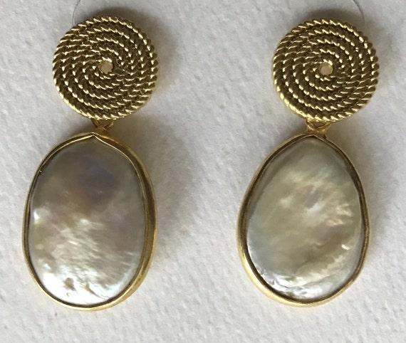 """Pearl Earrings, Teardrop Pearl Earring, Pearl & Gold Post Earring, Dangle Pearl Earring, Dangle Earrings, Gold Plated,1.25"""" Long"""