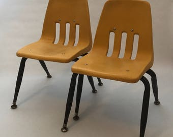 Set Of 2 Virco Childrenu0027s Chairs, Plastic Molded Chair, Yellow Kids Chair,  School