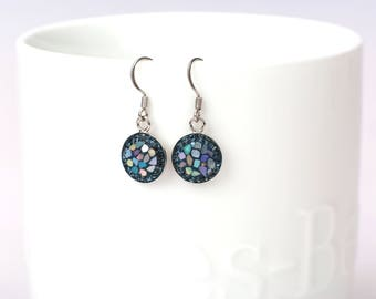 Round Split Mother Of Pearl, Swarovsky Crystal, Sterling Silver Ear Wire, Montana(Navy) Color, Korean Unique Style