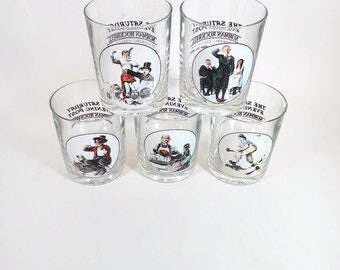 Norman Rockwell Old Fashioned Glasses    Saturday Evening Post Glassware Collection