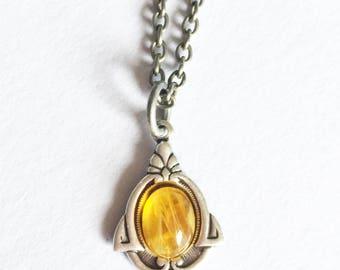 Amber necklace, Outlander necklace, Amber jewelry, Silver amber necklace, boho necklace, boho jewelry, boho amber necklace, dainty necklace