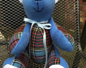 Handmade with Love - Memory Teddy Bear, 'Sammy' School Uniform Bear, Keepsake, Personalised, Treasured Memories, Bespoke/Custom made