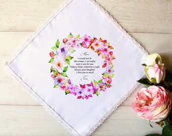 Wedding Handkerchief, Mother of the Bride Handkerchief, Wedding Hankerchief, Gift Box, Wedding Favors, Wedding Gift, Wedding Hankie #1