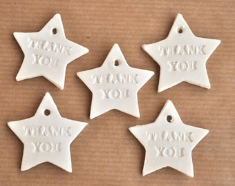 Star-shaped Thank You gift tags, set of 10, babyshower favors, thank you stars, thank you notes, clay tags, thank you tags, grey or white